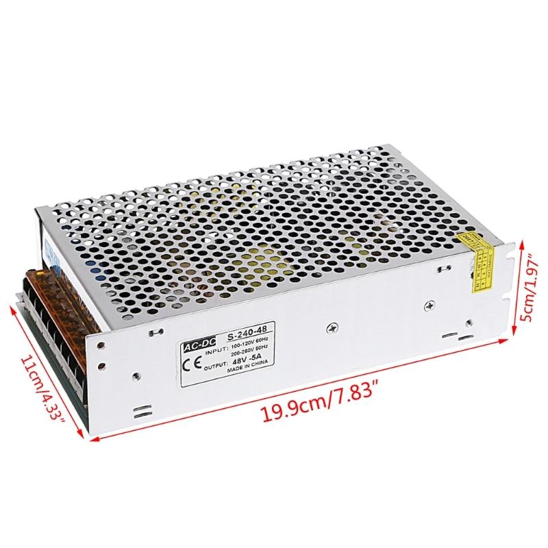 AC 100-260V To DC 48V 5A 240W Switch Power Supply Driver Adapter LED Strip Light W315 ac 85v 265v to 20 38v 600ma power supply driver adapter for led light lamp