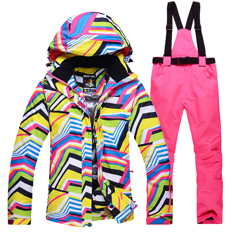 New Winter Women ski suit female Snowboard Ski Jacket + pants Clothes Windproof Waterproof Breathable Outdoor Sports Ski Suit