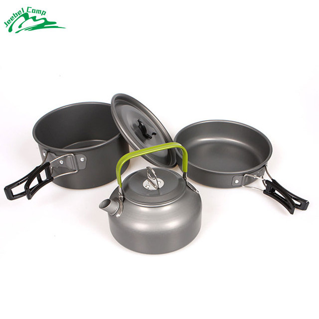 Jeebel Cookware Outdoor Camping Tableware Pot Picnic Canteen Survival Hiking Military Boiler Frying Teapot Set Kettle cutlery