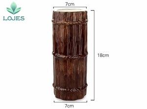 Image 2 - New 470ml Hawaii Tiki Mugs Cocktail Cup Beer Beverage Mug Wine Mug Ceramic Bamboo Tiki Mug