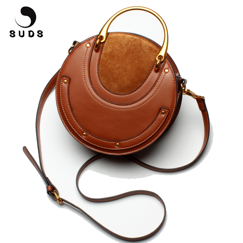 SUDS Brand Women Bag Genuine Leather Rivet Handbags Circular Bags Metal handle Women Messenger Bags Female Cow Leather Tote Bags