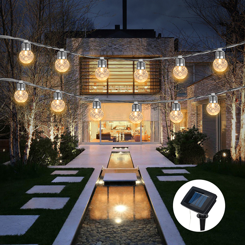 Outdoor Bistro Solar Powered Globe String Lights: G40 Globe Bulbs Solar String Lights Backyard Patio Lights