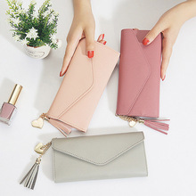 Long Wallet Women Purses Tassel Fashion Coin Purse Card Holder Wallets Female High Quality Clutch Money Bag PU Leather Mini Bag недорого