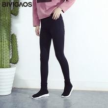BIVIGAOS Spring Fall Women Simple Basic Jeans Elastic Denim Pants Pencil Jean Leggings Pants Jeggings For Women Jeans Trousers