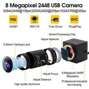 Image 2 - 8MP 3264X2448 ソニーIMX179 cctv usbカメラ 5 50 ミリメートルバリフォーカルcsレンズhd usb工業用ボックス内部監視usbカメラウェブカメラ