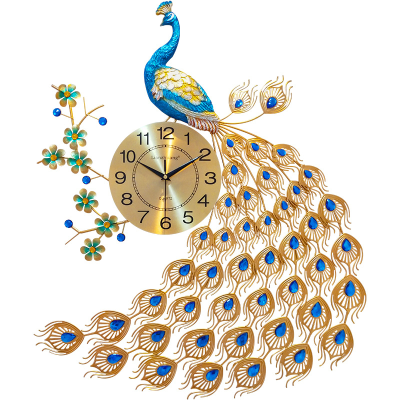 Peacock Quartz Wall Clock European Modern Simple Personality Creative Living Room Decorated Bedroom Silent Clock Wall Watch