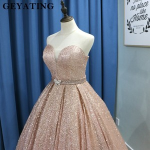 Image 4 - Champagne Glitter Ballkleid Prom Kleider Luxus 2020 Schatz Korsett Bodenlangen Kleider Lange Party Kleid Vestideos de festa