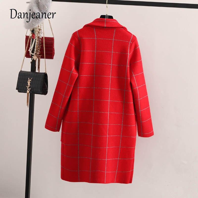 Danjeaner primavera otoño mujeres lana Trench coreano moda larga lana abrigo solo Breasted Delgado mujer Otoño Invierno lana abrigos - 6