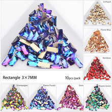 50pcs Bling Rectangle Nail Rhinestones 3*7mm Crystal AB Glass Stones 9 Colors DIY Manicure Nails Art Decorations (Mixed )