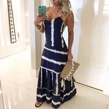 Women Elegant Holiday Vacation Pep Hem Spaghetti Strap Sleeveless V-Neck Party Dress Tie Dye Print Spaghetti Strap Maxi Dress