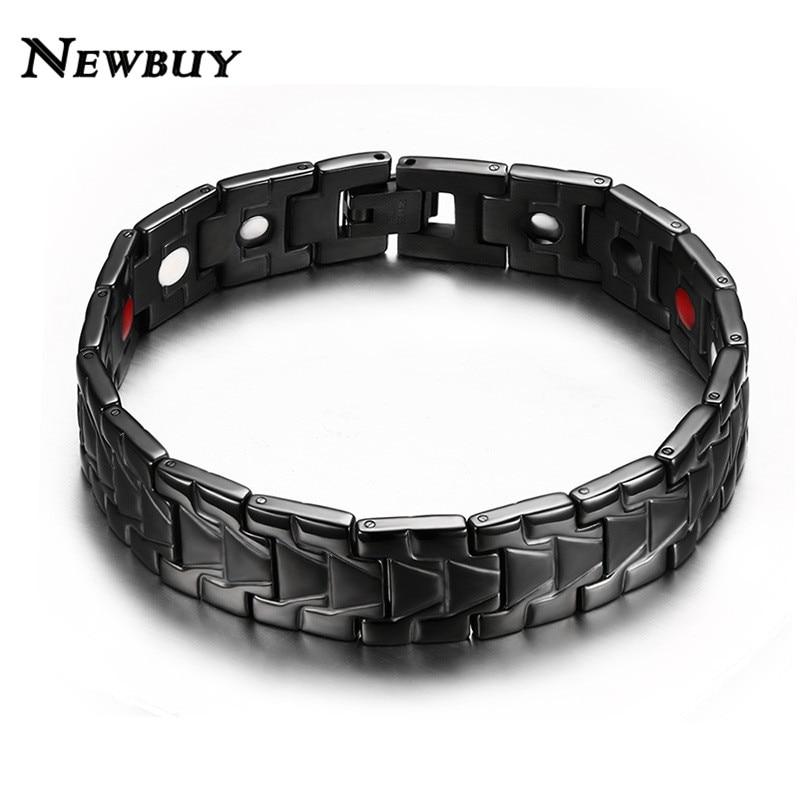 NEWBUY 2018 New Cool Health Men Magnetic Bracelets&Bangles Stainless Steel Bangles For Men Black Gold Silver Bracelets For Gift