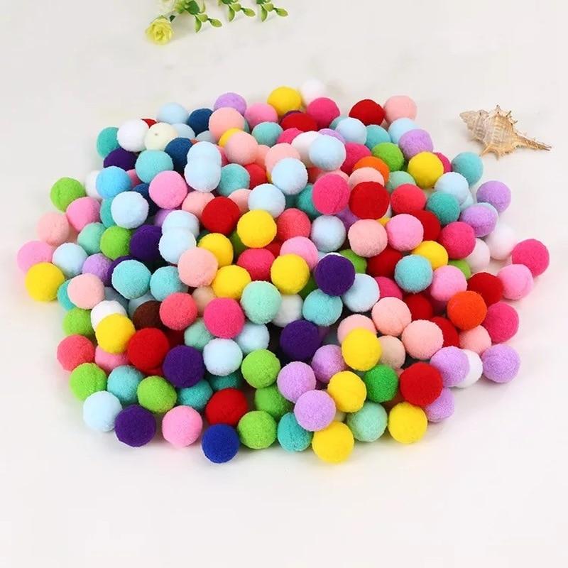 186Pcs/bag Sequins Pompom Ball Fur Ball Plush Mixed Color Creative Kids Handmade Material Glitter Foam Ball DIY Craft Supplies