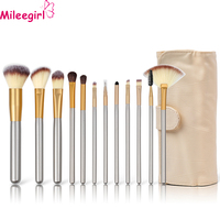 Mileegirl Hot Sale 12Pcs Makeup Brush Cleaner Eyebrow Eyeshadow Lip Brush Set Professional Powder Brushes For