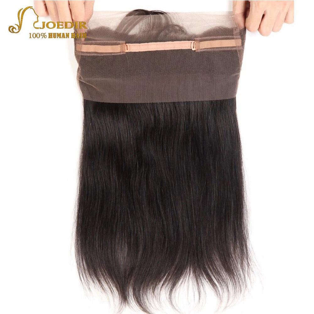Joedir Lace Frontal Closure Peruvian Straight Hair 360 Frontal Remy Human Hair Natural Color Free Part 12-18 Inch Free Ship