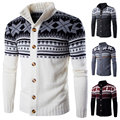 Winter Fashion Snow Christmas Men Sweater Turtleneck Slim fit Long sleeve Knitted Casual Cardigans Mens Single Breasted Sweaters