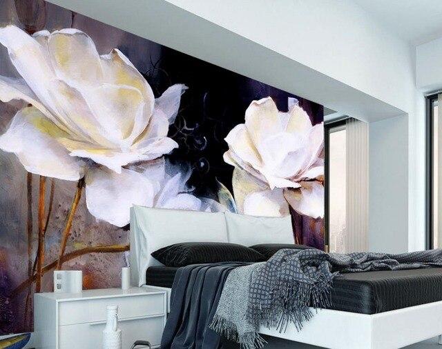 US $15.3 49% di SCONTO|Contesto del salone TV camera da letto 3d photo  wallpaper pittura TV sfondo di rose bianche 3d carta da parati fiore in ...