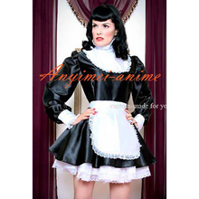 Free Shipping Sexy Sissy Maid Dress Satin Lockable Dress Maid Uniform Cosplay Costume Tailor made
