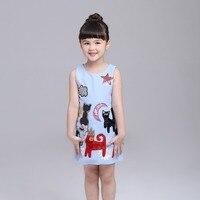 Meninas novas Do Bebê Verão animais Floral impressão Vestido Estilo Europeu Designer Crianças Vestidos Crianças Clothes4-12Y