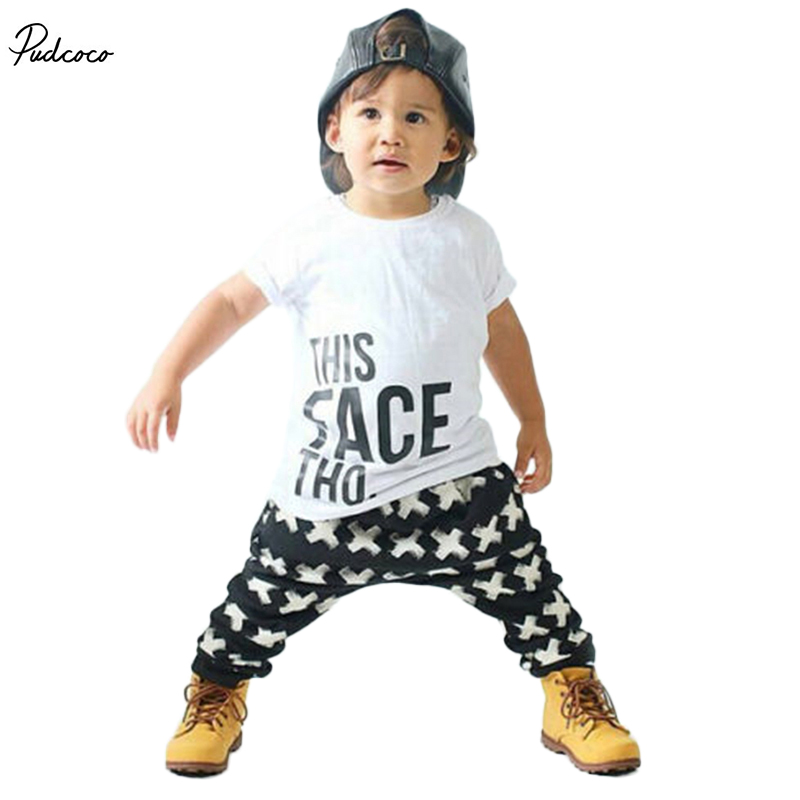 Tops + Harem Letter White Cotton Pants 2pcs Set Boys 0-5Y 2pcs Clothes Sets 2017 Summer Baby Boy Clothing Toddler Casual T-shirt toddler boy summer cool outfit kids baby boys casual star t shirt tops harem pants 2 pcs outfits set 2 7y clothing