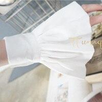 Белая шифоновая бутон с бантом синий хлопок Мумия рукава украшен ложной Темперамент шифон Crest воротник Кружево шелковистая серый органист