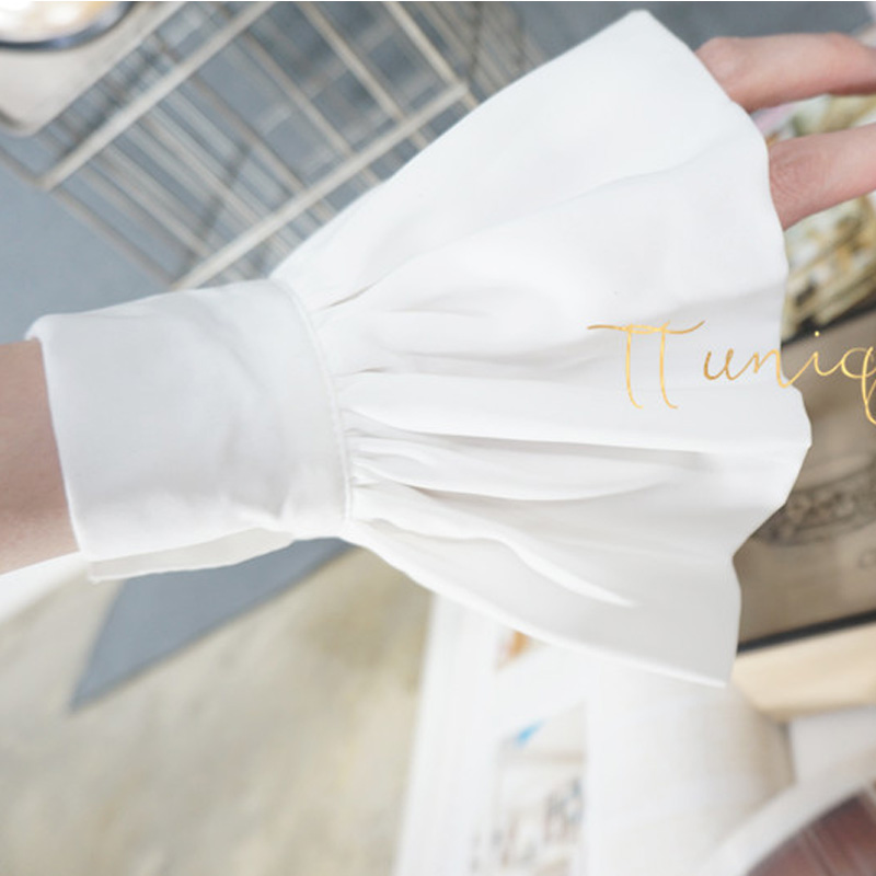 White Chiffon Bud With Bow Blue Cotton Mummy Sleeves Decorated False Temperament Chiffon Crest Collar Lace Silky Gray Organist