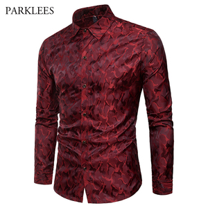 Image 3 - סגול הסוואה חולצה גברים 2018 חדש לגמרי חלק משי כותנה חולצות גברים מקרית Slim Fit ארוך שרוול תחתונית Homme Camisa