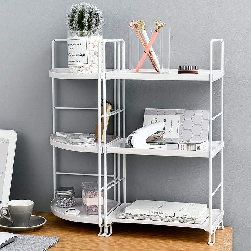 3 layer Holder Organizer Iron Desk Bookshelf Desktop Plastic Storage Rack Kitchen Bathroom Office Multilayer Corner Shelves