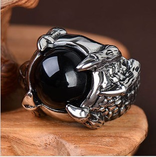 Men's hot Titanium Stainless steel wedding band ring for men retro punk rock agate Christmas gift Fashion jewelry Free shipping