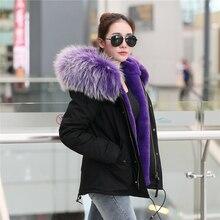 Новые цвета 2016 женщины большой настоящее енота меховым воротником с капюшоном пальто парки и пиджаки 2 в 1 съемная подкладка зимняя куртка марка стиль