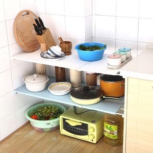 Image 5 - Armario Ropero Organizador de armario ajustable estante de almacenamiento montado en la pared estante de cocina armario de ahorro de espacio estantes decorativos soporte de gabinete