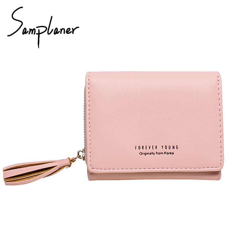 Trifold Tassel Mini Women Wallets Short Leather Small Clutch Wallet Lady Coin Card Purse Female Valets Cash Photo Pocket Cuzdan