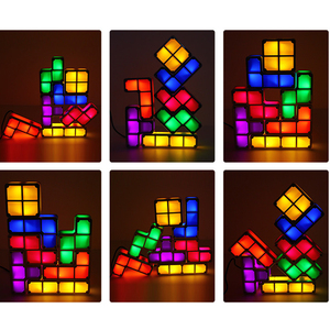 Image 2 - DIY Tetris Puzzle Light Stackable LED Night Light Constructible Block Desk Lamp 7 Colors Novelty Toy Children s Gift