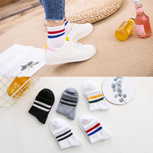 Spring new sports tube socks two bars Harajuku College wind men and women couples tide