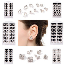 12 pairs/Card Rhinestone White Simulated Pearl Stud Earrings For Women Fashion Jewelry Geometric Earrings Wholesale viennois luxury silver color zircon stud earrings women fashion jewelry simulated pearl geometric earrings for party wedding