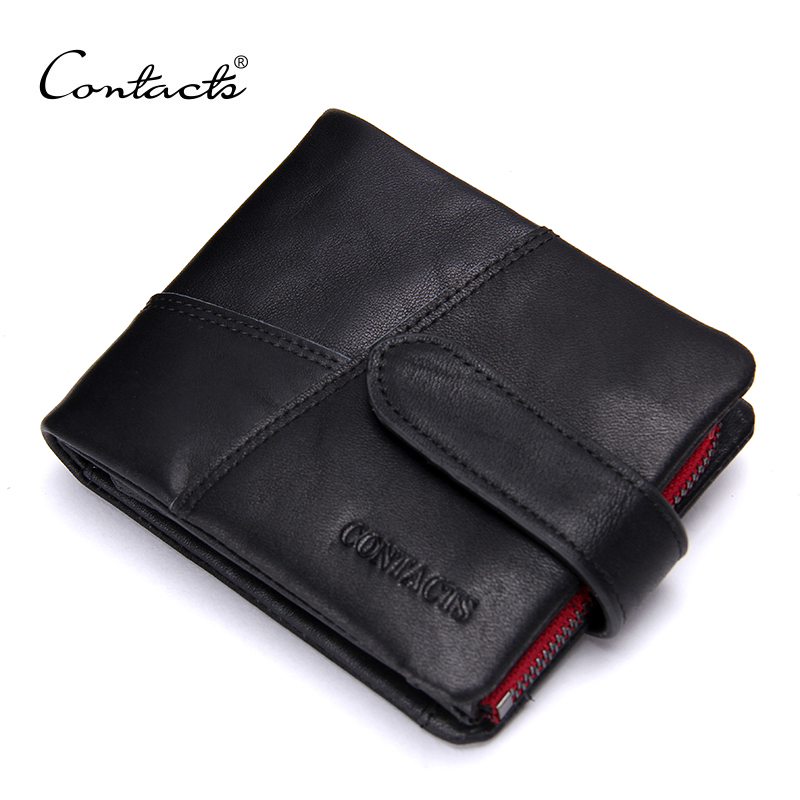 CONTACT'S Classical Short Men Wallets Genuine Leather Wallet Fashion Brand Design Red Zipper Purse With Card Holder Coin Wallet
