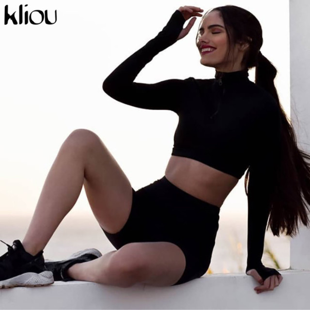 Fitness Two Pieces Sets, Full Sleeve Zipper Turtleneck Top, And High Waist Shorts Suits