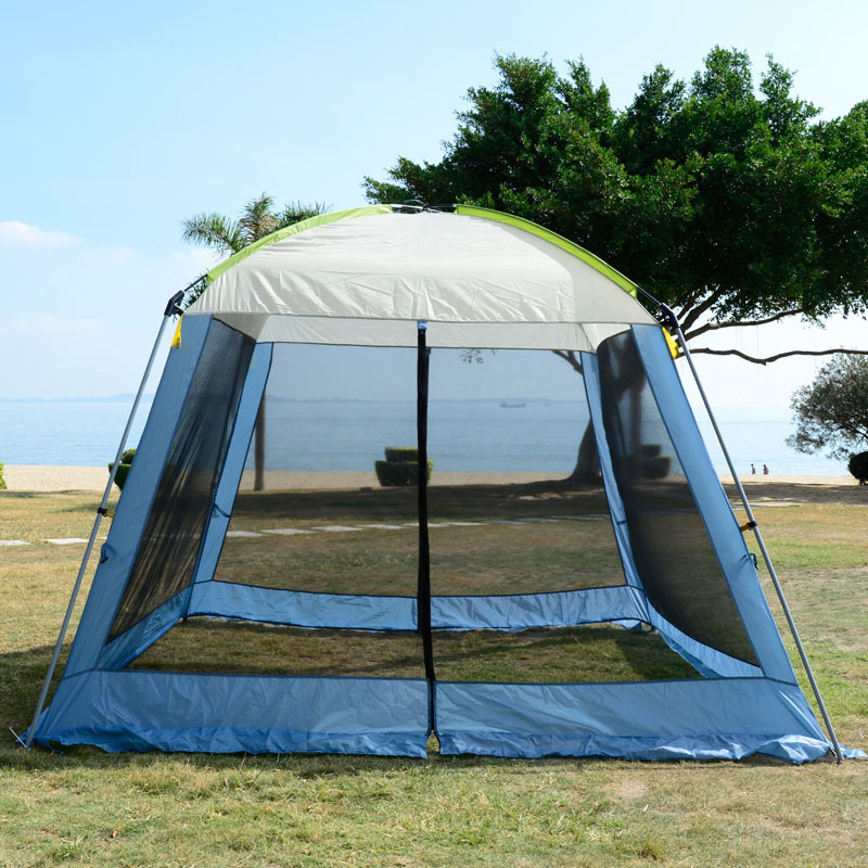 Double layer awning beach tent sun shelter outdoor tent UV protect mat-awning gazebo shelter camping tent  without floor mat 2017 innovation sun shelters hand operation and automatic quick opening double using car tent sun shade awning shelter umbrella