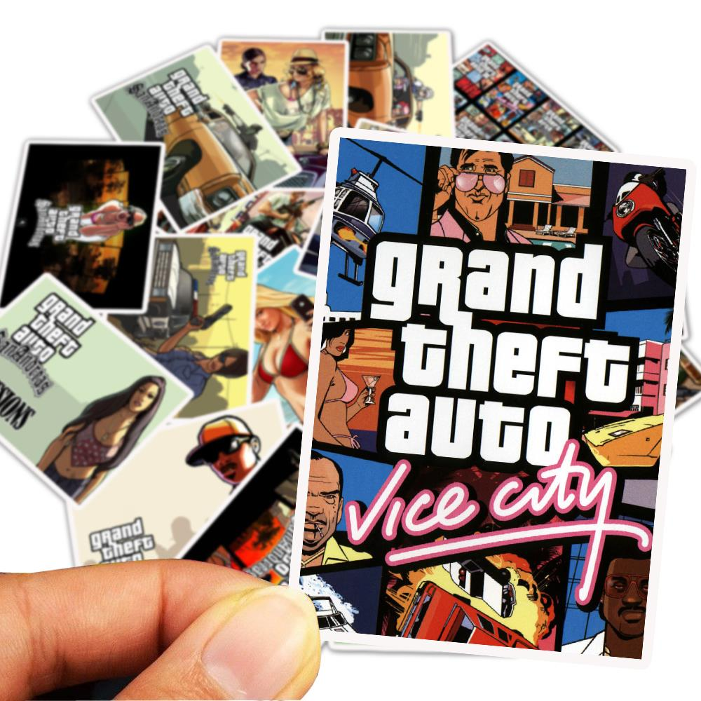 25PCS/Pack Grand Theft Auto Stickers For Bar Luggage Skateboard Laptop Children Toy Waterproof Stickers Decals
