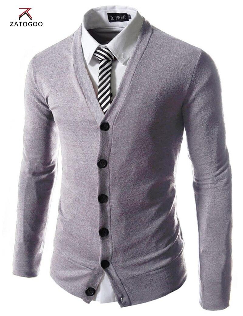 ZATOGOO men's fashion pure color cotton cardigan v neck formal ...