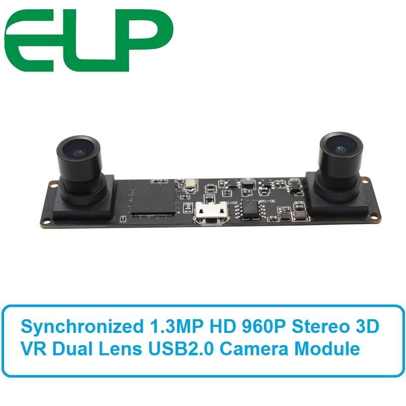 Synchronization 1.3 Megapixel 960P HD CMOS OV9750 MJPEG 60fps Stereo Camera Module 3D USB2.0 Webcam Video Camera Board synchronization 3d usb camera module board mjpeg 60fps 1 3mp ov9750 uvc mini webcam dual lens for raspberry pi linux windows
