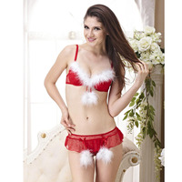 Sales Promotion 2014 Free Shipping Christmas Women Bra Set Sexy Lingerie Red Have B C D