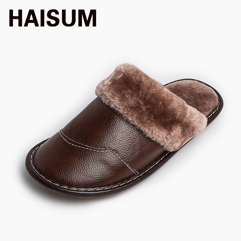 2017 New Waterproof Winter Warm Home Slippers Men Genuine Cow Leather Plush Man Floor Slipper Shoes 8832 men winter soft slippers plush male home shoes indoor man warm slippers shoes