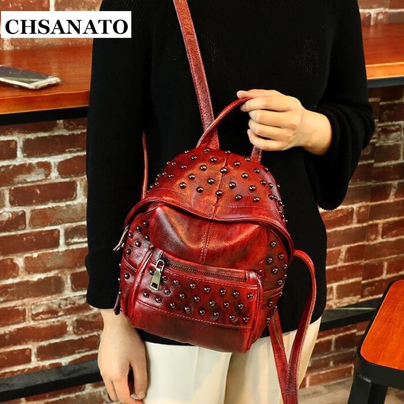 CHSANATO Women Leather Backpacks Ladies Mini Backpack Woman Back Pack Rivet Backpacks For Teenage Girls Small
