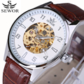 Top Brand Luxury Mechanical Watches Classic Mens Automatic self-wind Watch Skeleton Brown Leather Man Wristwatch Gift Box 2017