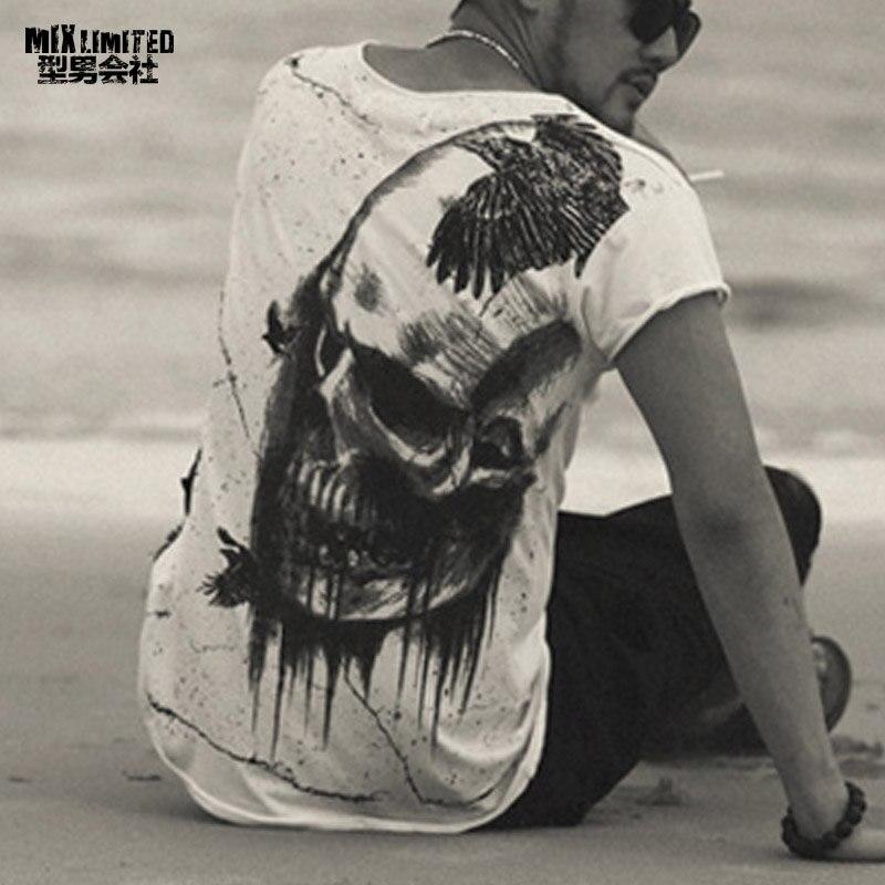 Men Summer Printed Skull Cotton Short Sleeve T-shirt Men Fashion High Quality New Design Hot Sale T-shirt Men Top Tees T4366