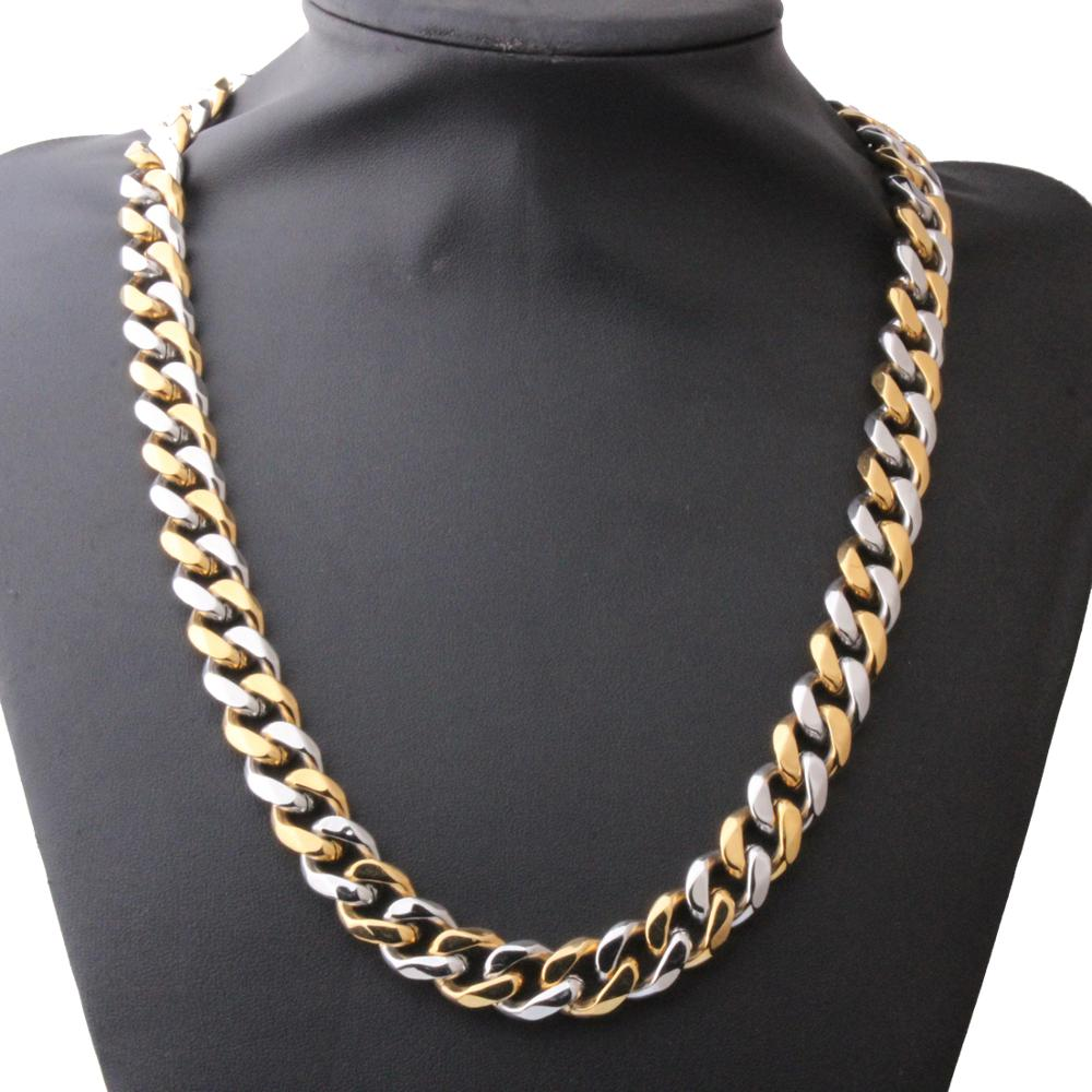 Granny Chic Mens Necklace 12 15mm Silver Gold Curb Cuban Link Chain Necklaces for Men Women Wholesale Jewelry Fashion Gift in Chain Necklaces from Jewelry Accessories