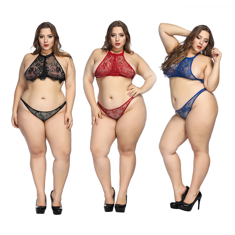 Lingerie Set Transparent Wireless Bra Set Underwear Lace Women Sexy Bra And Panty Halter Women Plus Size Intimates Blue