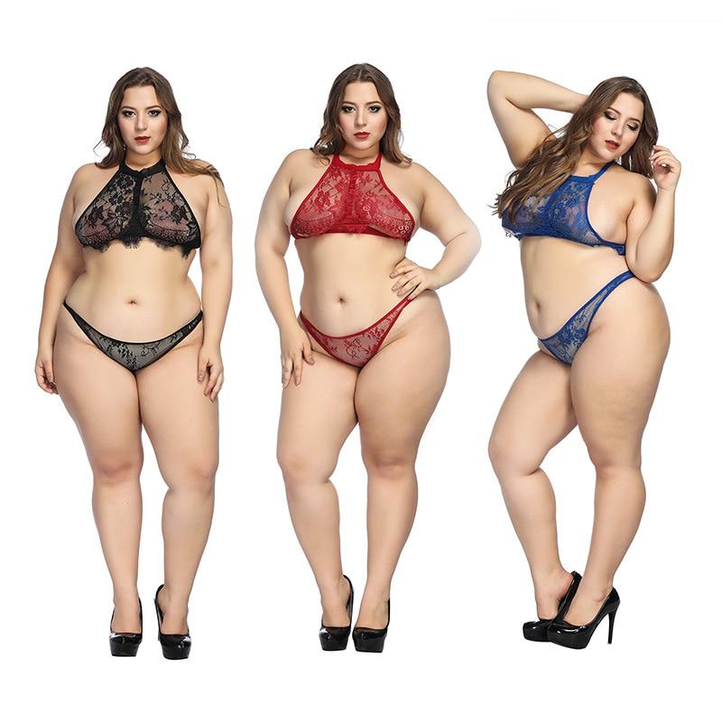 Lingerie Set Transparent Wireless Bra Set Underwear Lace Women Sexy Bra And Panty Halter Women Plus Size Intimates Blue