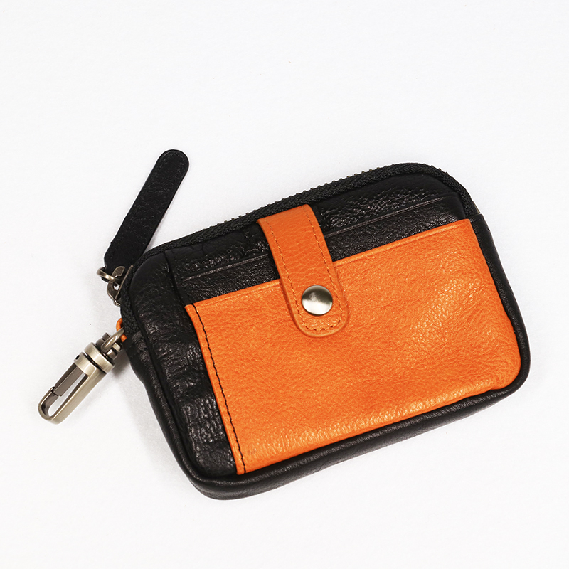 Male Retro Genuine Leather Short Wallet Zip Coin Purse Credit Card Holder