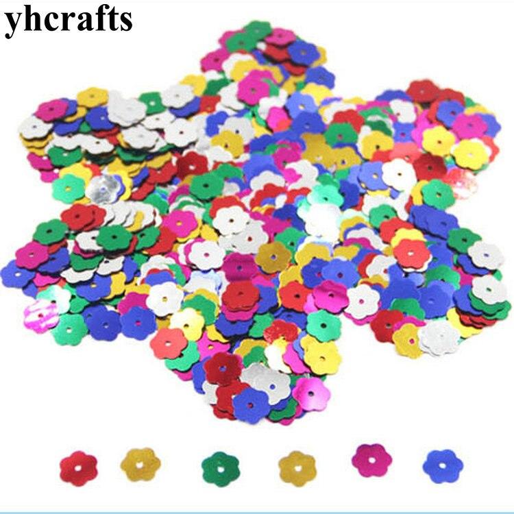 20gram/Lot. 8mm Plum Blossom Sequins Craft Material Kindergarten Crafts Creative Activity Item Color Learning Make Your Own OEM